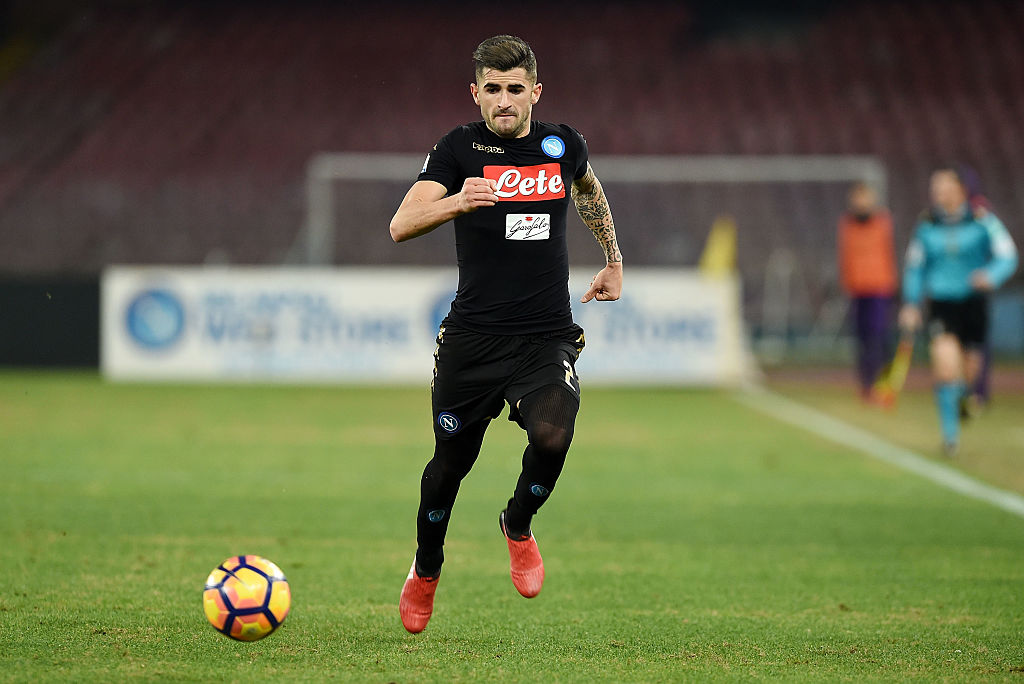 NAPLES, ITALY - JANUARY 24: Elseid Hysaj of SSC Napoli in action during the TIM Cup match between SSC Napoli and ACF Fiorentina at Stadio San Paolo on January 24, 2017 in Naples, Italy. (Photo by Francesco Pecoraro/Getty Images)