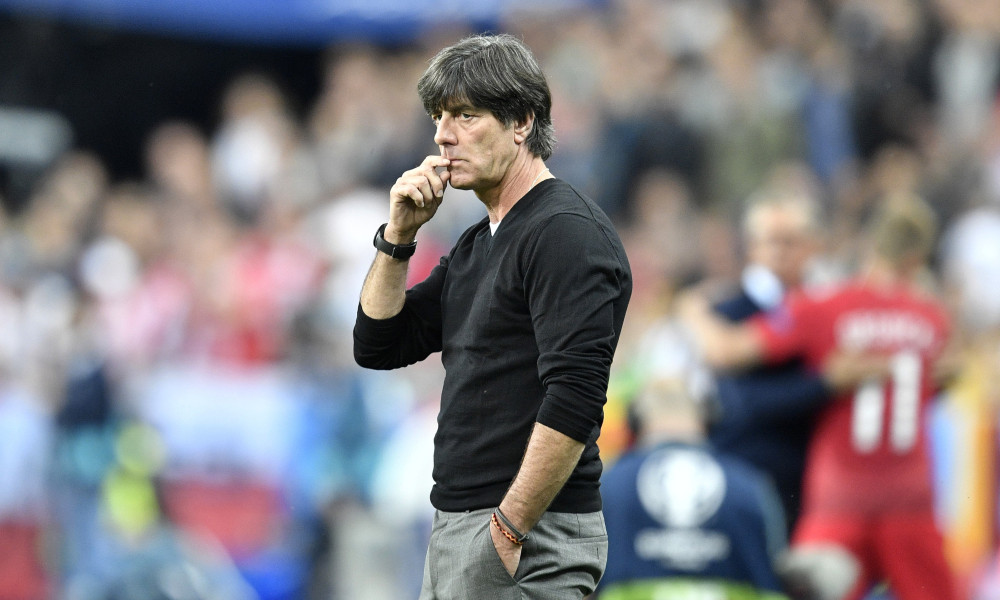 Germany coach Joachim Loew looks on from the sidelines during the Euro 2016 Group C soccer match between Germany and Poland at the Stade de France in Saint-Denis, north of Paris, France, Thursday, June 16, 2016. (AP Photo/Martin Meissner) ORG XMIT: PW173