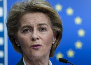 European Commission President Ursula von der Leyen speaks during a joint press conference after a G7 Leaders' videoconference on COVID-19 at the EU headquarters in Brussels on March 16, 2020. - Ursula von der Leyen on March 16 proposed that the EU close its borders to non-essential travel, as Europe scrambles to fight the spread of the coronavirus disease. Charles Michel will official propose the measure at an EU leaders summit on March 17 that will be held by videoconference. That meeting will come one day after the G7 holds a similar high-level videoconference. (Photo by Kenzo TRIBOUILLARD / AFP) (Photo by KENZO TRIBOUILLARD/AFP via Getty Images)