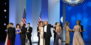 WASHINGTON, DC - JANUARY 20: President Donald Trump, first lady Melania Trump, Vice President Mike Pence and his wife Karen dance with their families on stage at the Freedom Inaugural Ball at the Washington Convention Center January 20, 2017 in Washington, D.C. President Trump was sworn today as the 45th U.S. President. (Photo by Aaron P. Bernstein/Getty Images)